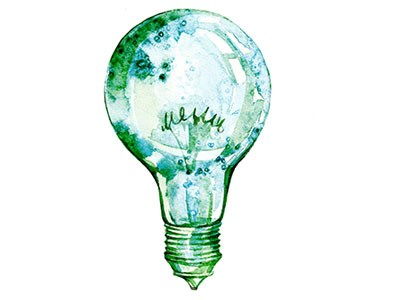 Painting of a lightbulb