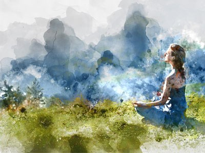 Painting of a woman meditating outdoors