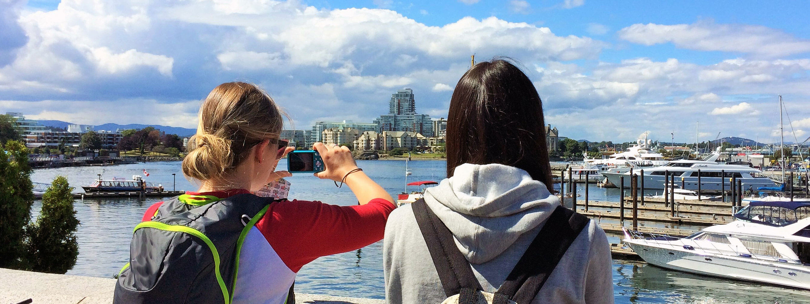 Students taking pictures in Victoria BC, Canada