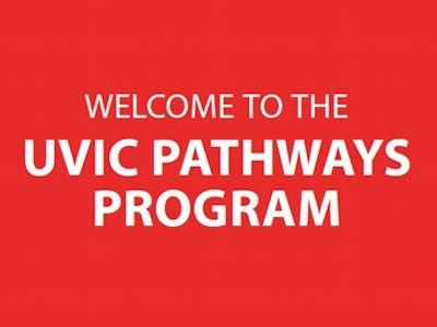 Welcome to the UVIc Pathways Program on red background.