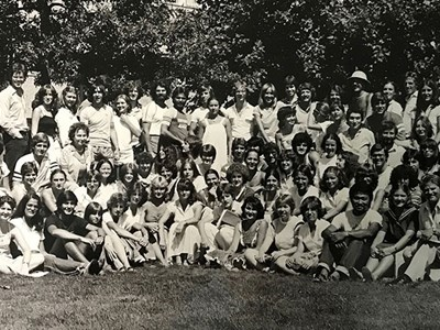 Old black and white photo of former ELC students and staff