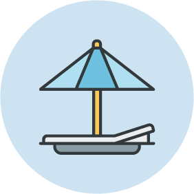 Illustration of a beach umbrella.